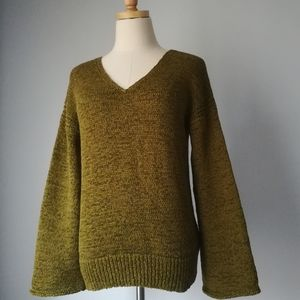 J. Crew Flare Sleeve Swing Sweater Green
